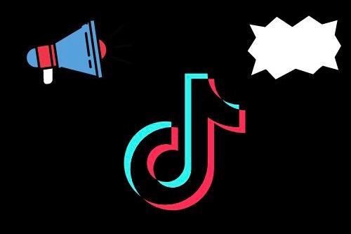 Kuvassa on Tiktokin logo keskellä ja ylempänä megafoni sekä puhekupla.
