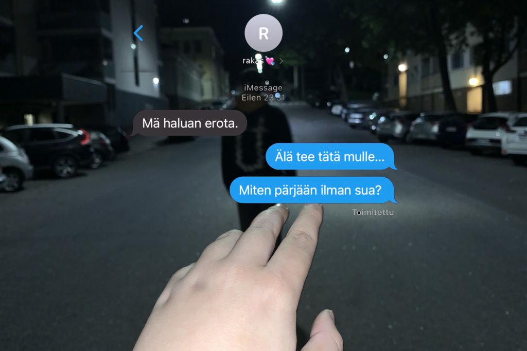 Kuvassa on käsi, joka tavoittaa tummaa hahmoa. Kuvassa on tekstiä: Minä jätän sinut, älä tee tätä mulle, miten pärjään ilman sua?